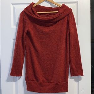 Rust off the shoulder sweater.